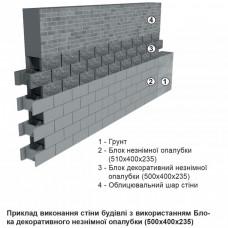 Блок декоративный несъемной опалубки М-200 (500х400х235) (двухсторонний скол). Золотой Мандарин