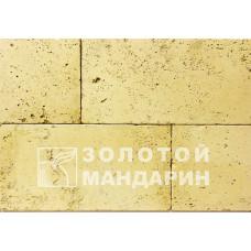 Облицовочный камень Травертин Скала (угловой элемент). Золотой Мандарин